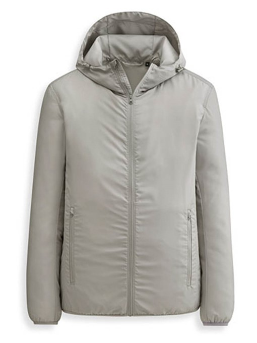 Plain Zipper Hooded Men's Loose Fit Jacket