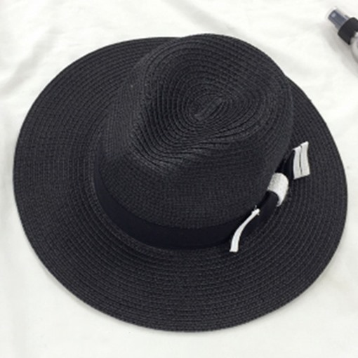 Bowknot Decorated Black and White Straw Hat