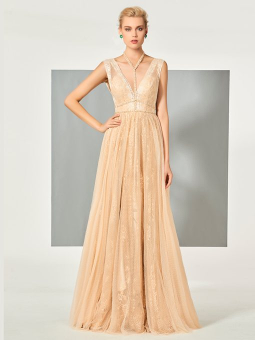 Halter A-Line Beaded Lace Sleeveless Floor-Length Evening Dress