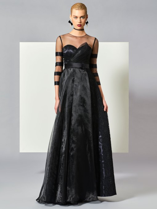 Jewel Neck Bowknot Long Sleeves Evening Dress