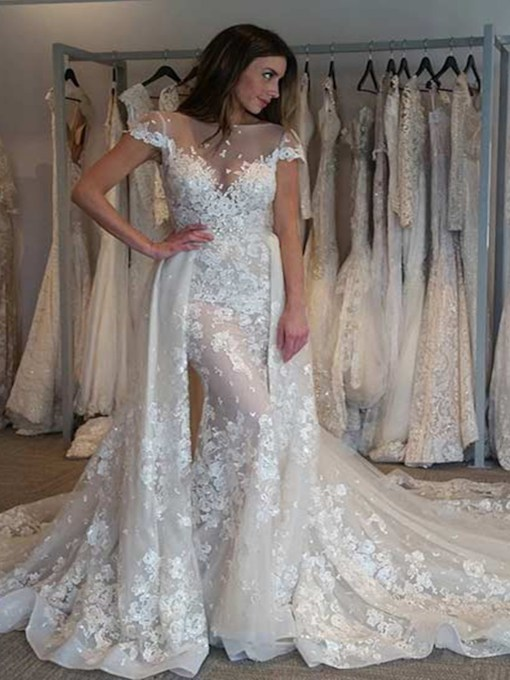 Cap Sleeves Appliques Watteau Train Wedding Dress