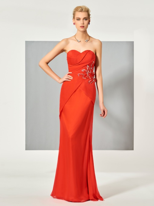 Sheath Sweetheart Beading Pleats Floor-Length Evening Dress