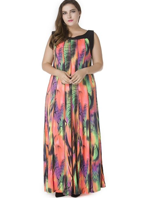 Color Block Sleeveless Plus Size Women's Maxi Dress