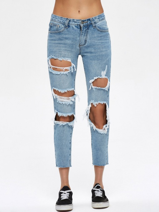Plain Hole Worn Slim Patchwork Women's Jeans