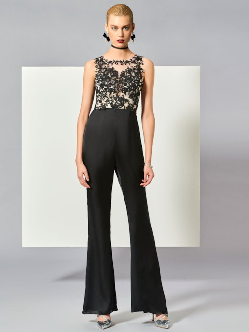 Scoop A-Line Button Appliques Evening Jumpsuits