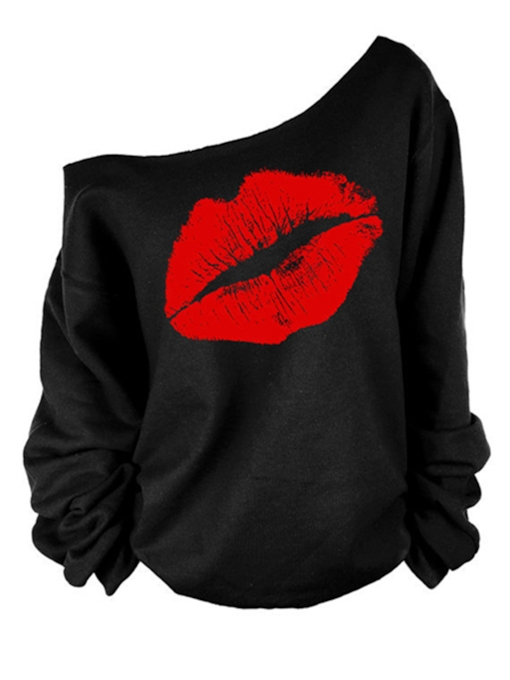 Lips Pattern Loose Women's Sweatshirt