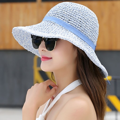 Wide Brim Foldable Breathable Beach Straw Hat