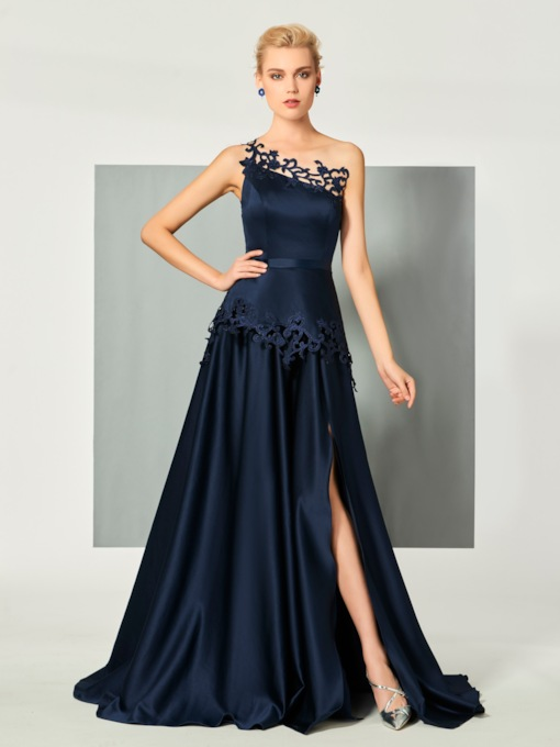 One-Shoulder A-Line Appliques Sashes Evening Dress