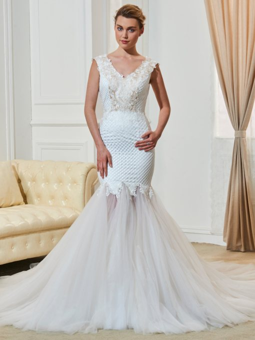 V-Neck Straps Appliques Lace Mermaid Wedding Dress