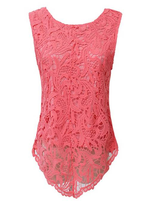 Round Neck Slim Lace Sleeveless Women's Blouse