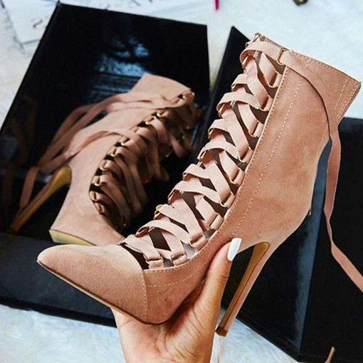 Cross Strap Pointed Toe Ultra-High Heel Boots