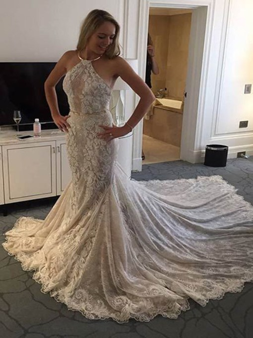 Halter Mermaid Lace Church Wedding Dress