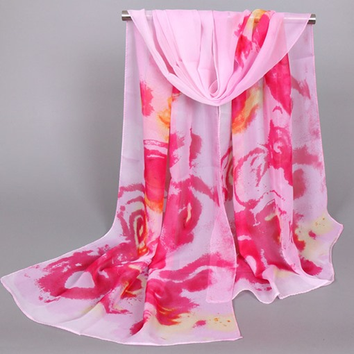 Colorful Printing Sunscreen Thin Chiffon Scarf