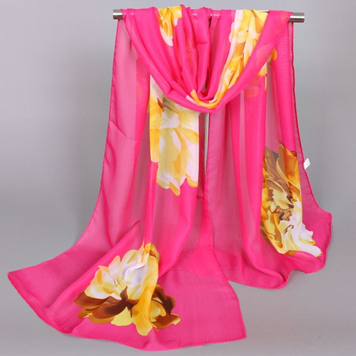 Hot Sale Big Flowers Printed Chiffon Thin Scarf