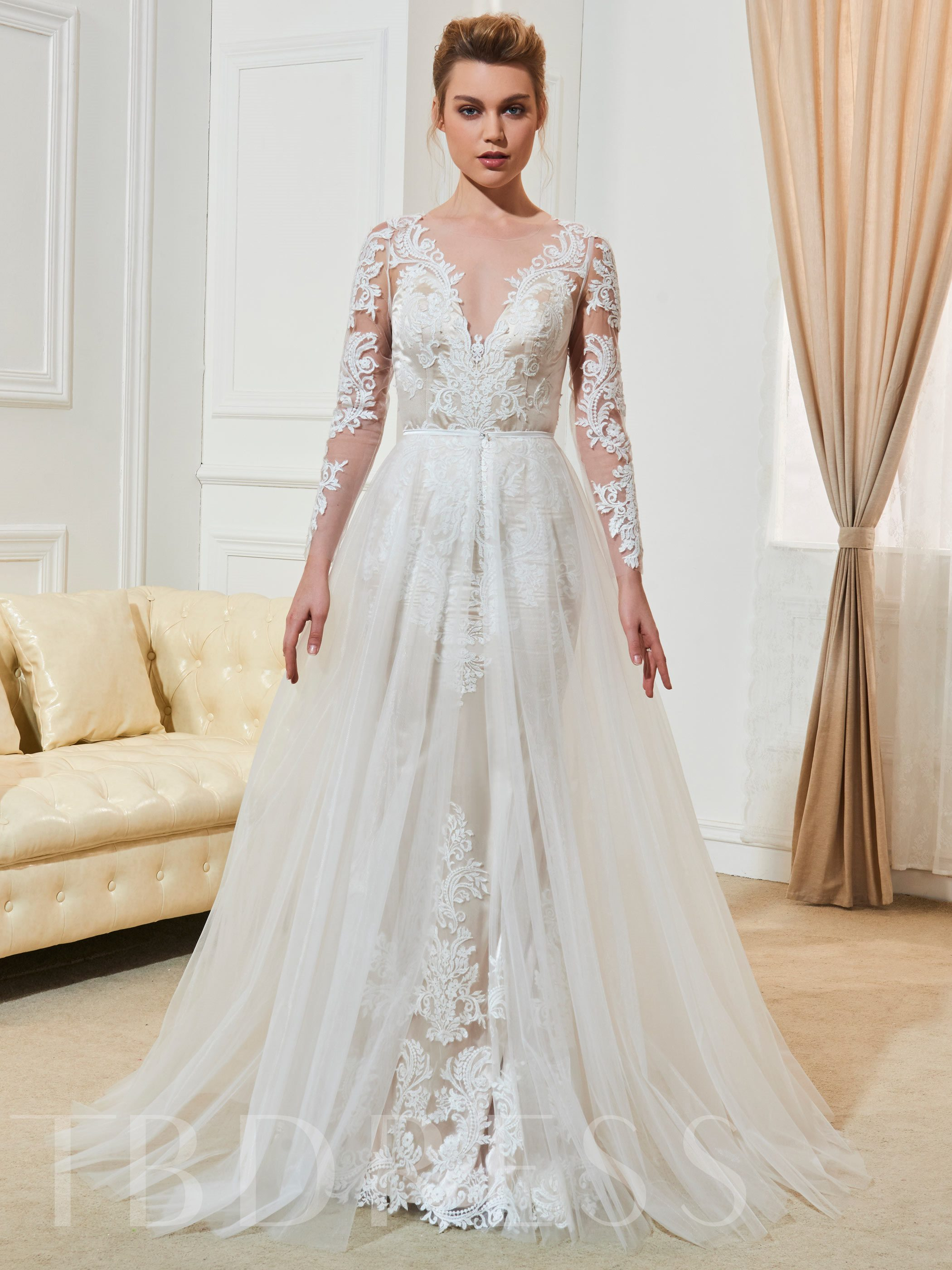 Sheer Scoop Neck Appliques Bridal Gown With Long Sleeves 12770529