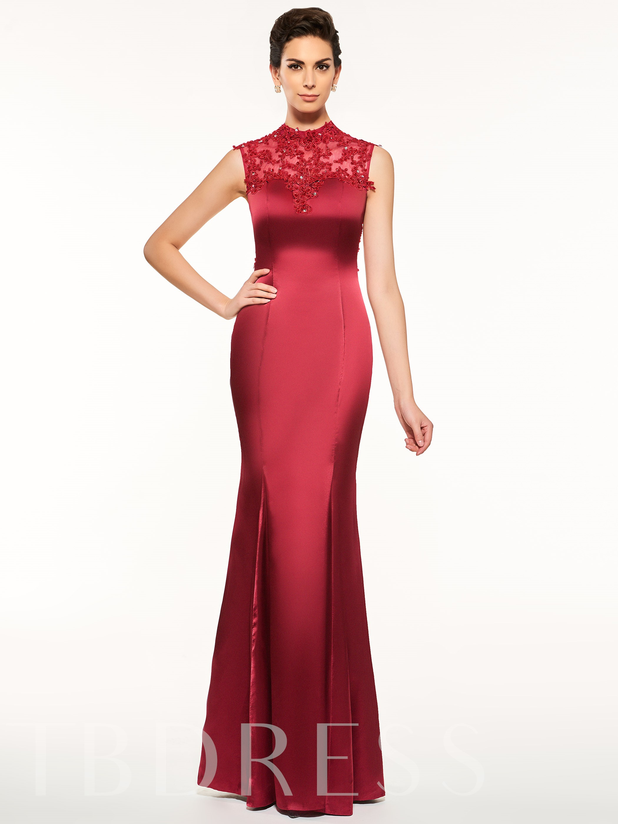 Image of Appliques Button High Neck Sheath Mother Of The Bride Dress