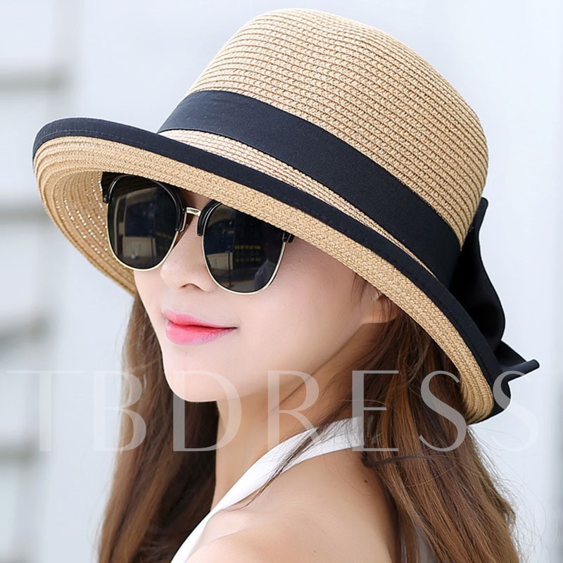 Roll Brim Design Bowknot Decorated Straw Hat