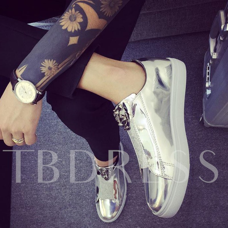 Decorative Sequins Low Heel Slip-On Men's Skater Shoes