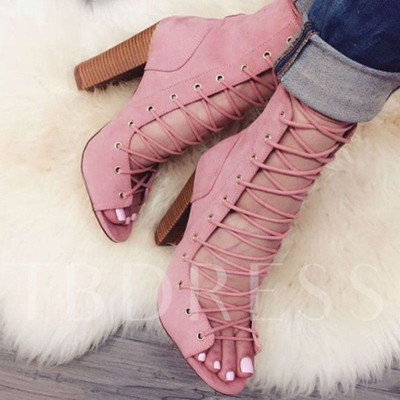 Suede Open Toe Casual Plain Chunky Heel Women's Sandals