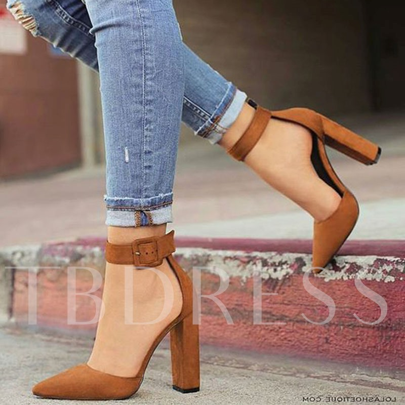 Pointed Toe Plain Chunky High Heel Plain Ankle Buckle Women's Pumps