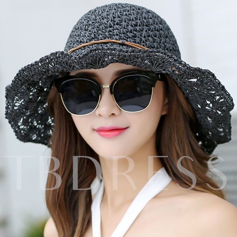 Foldable Straw Plaited Article Pure Color Hollow Hat
