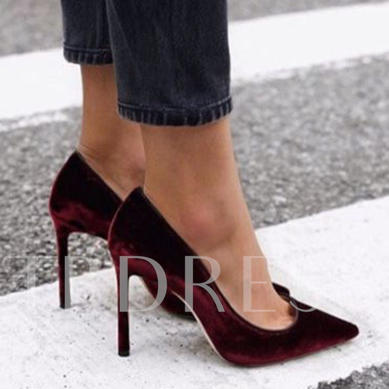 Pointed Toe Slip-On Suede Plain Women's Pumps