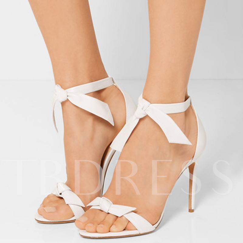 Stiletto High Heel Open Toe Lace-Up Plain PU Women's Sandals