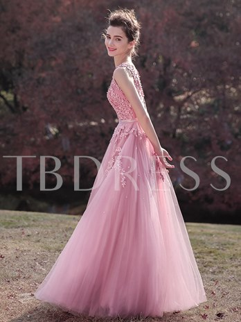 A-Line Sleeveless Appliques Scoop Beading Sashes Prom Dress