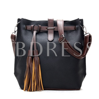 Leisure Tassel Pendant Bucket Shoulder Bag
