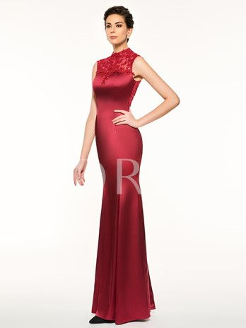 Appliques Button High Neck Sheath Mother Of The Bride Dress