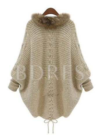 Wool Collar Bat Sleeve Knitted Lace-up Women's Cardigan