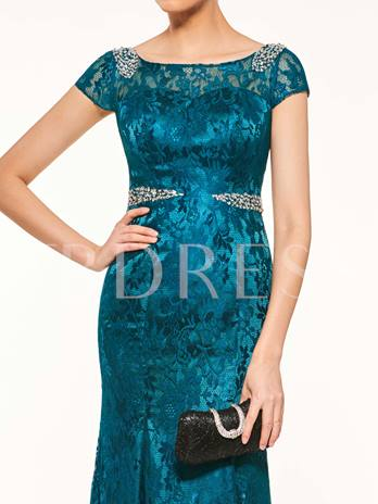 Scoop Neck Short Sleeves Beading Lace Mother Of The Bride Dress