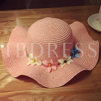Flowers Decorated Solid Color Women's Beach Straw Hat