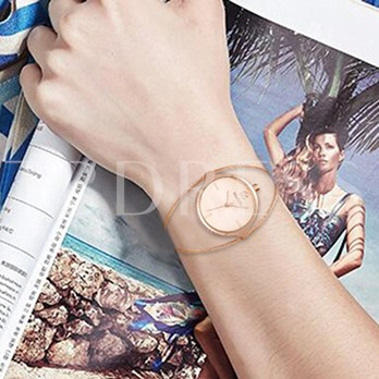 Personality Steel Wire Band Round Dial Women's Watch