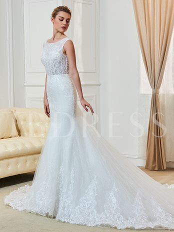 Straps Appliques Beading Mermaid Wedding Dress