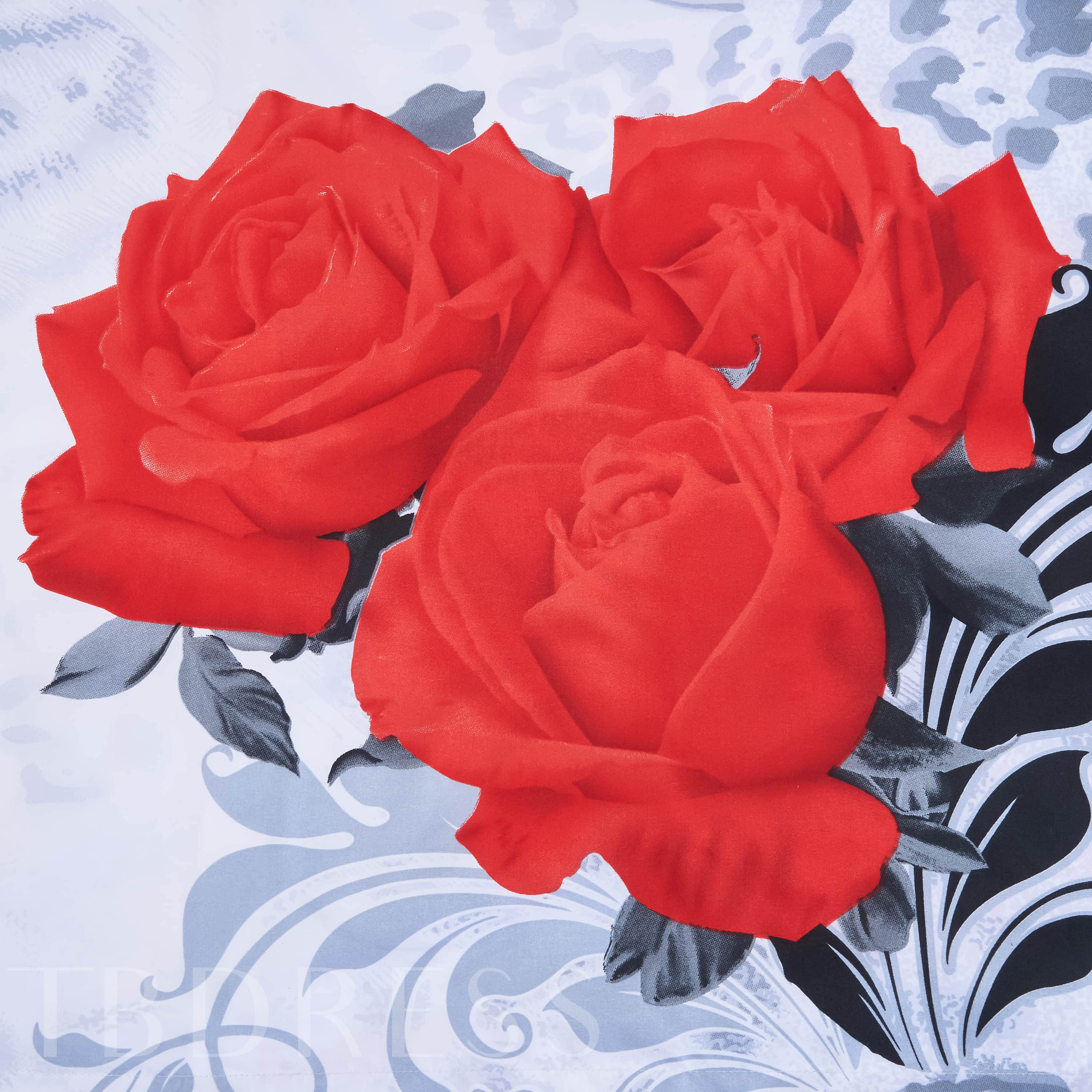 Three Red Roses Leopard 3D Printed Polyester 4-Piece Bedding Sets