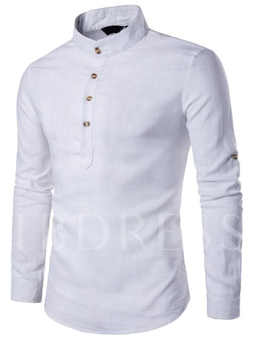 Stand Collar Linen Blends Men's Casual Half-Breasted Shirt