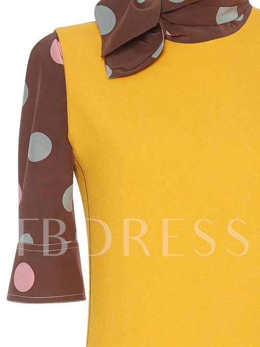 Single-Breasted Polka Dots Half Sleeve Women's Day Dress