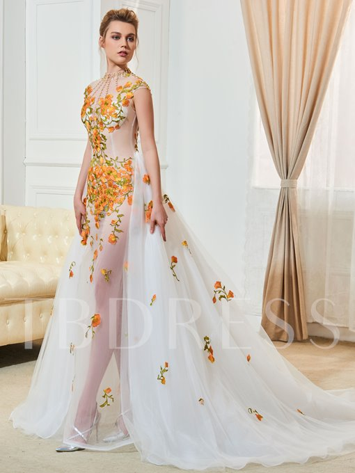 High Neck Cap Sleeve Appliques Beading Wedding Dress