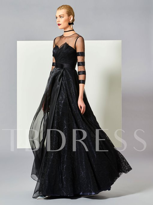 Jewel Neck A-Line Tulle Bowknot Floor-Length Evening Dress