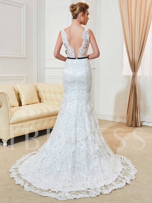 Sashes Mermaid Appliques Wedding Dress