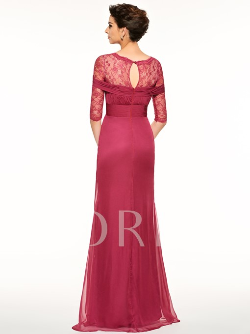Lace Half Sleeves Ruffles Scoop Neck Mother Of The Bride Dress