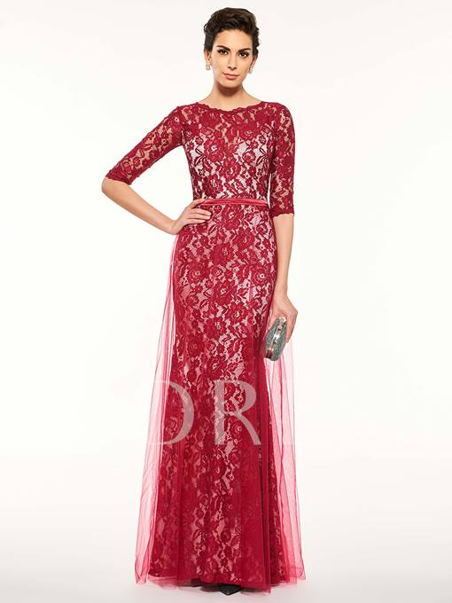 Half Sleeves Scoop Neck Lace Sheath Mother Of The Bride Dress