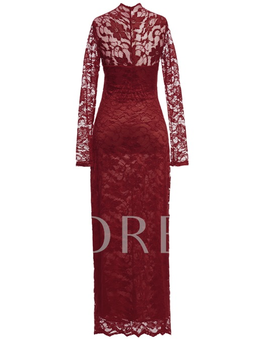 V Neck Sheath Long Sleeves Lace Ankle-Length Evening Dress
