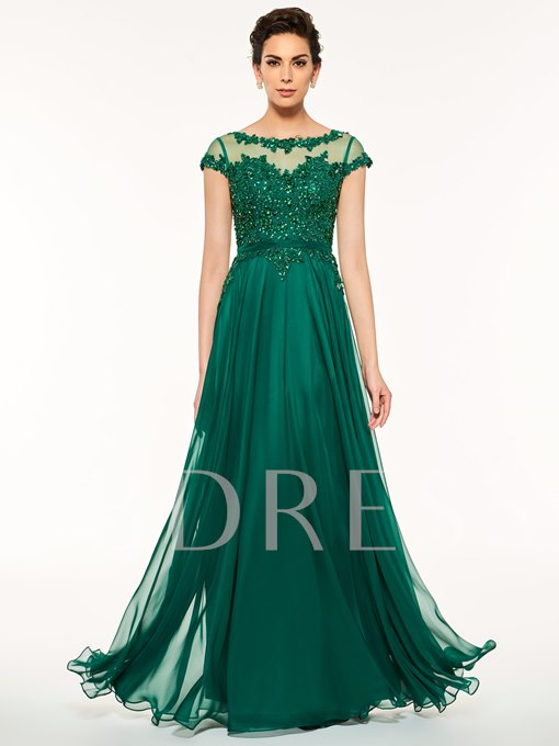 Bateau Neck Beading Cap Sleeves A-Line Mother Of The Bride Dress