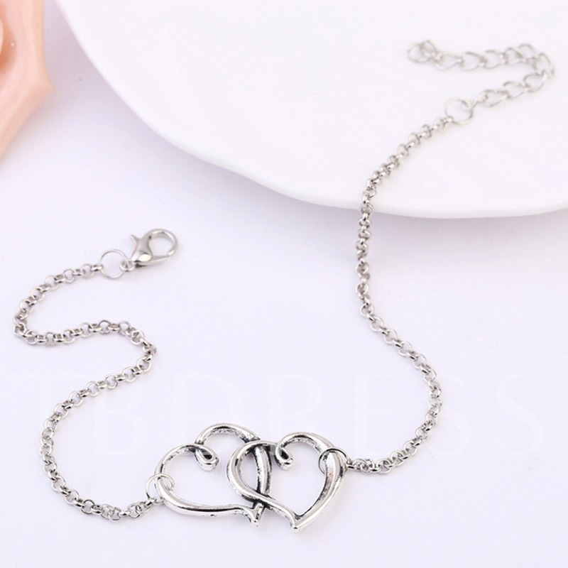Double Heart-Shaped Design Alloy Chain Anklet