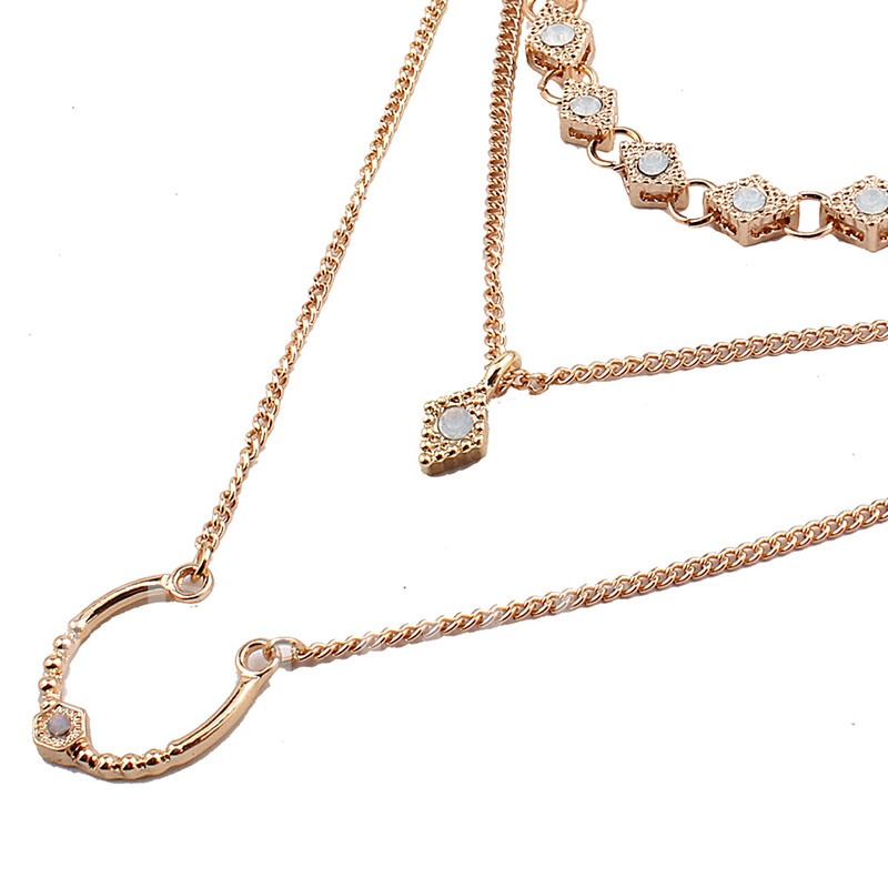 Nice Polishing Multilayer Alloy Diamante Necklace