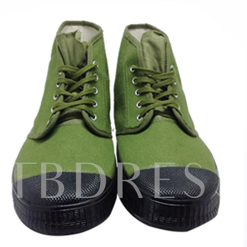 Patchwork Flat Heel Color Block Army Green Men's Shoes