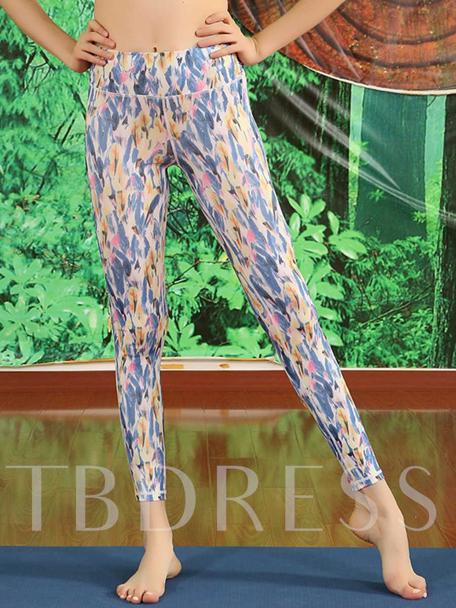 Patchwork Anti-Sweat Polyester Four Seasons Ankle Length Running Pants