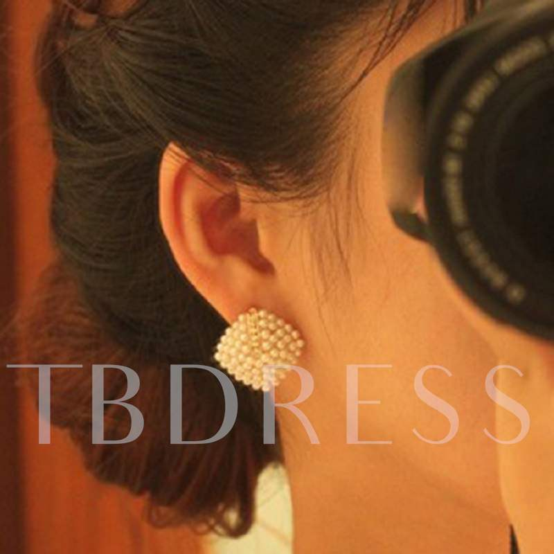 Alloy Diamante White Elegant Pearl Earrings